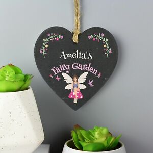 Personalised Fairy Garden Slate Heart Decoration. Gift. Home.