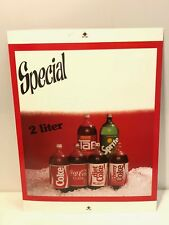 Early 1980's Coca-Cola Advertising Poster 2 Liters Bottles/Tab/Sprite/New Coke