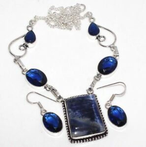 Sodalite Blue Topaz 925 Silver Plated Necklace Earrings Set Ethnic Gift GW
