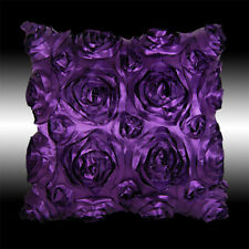 DARK PURPLE 3D RAISED ROSE FAUX SILK DECO THROW PILLOW CASE CUSHION COVER 16""
