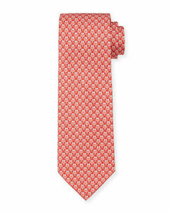 NEW Authentic SALVATORE FERRAGAMO Mens Gancini Red Silk Tie