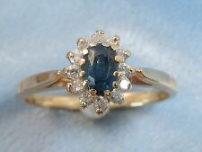 14K Yellow Gold Ring, 5 X 3 Natural Sapphire, 12, 1.5mm Diamonds, Size, 6.25