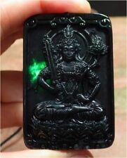 Certified Black Green Natural Jade jadeite Pendant Guanyin Kwan Yin 墨翠 观音 533896