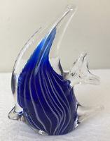 Art Glass Hand  Blown Angel Fish White Blue Paperweight Art Deco