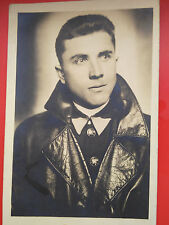 WWII world war military photo postcard soldier portrait Offizer in leather coat