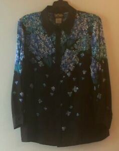 """LOVELY Bob Mackie Wearable Art """"Embellished Floral"""" Silk Blouse- Size 1X  NEW"""