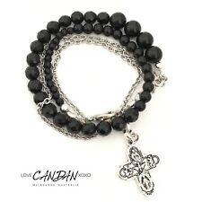 Double Wrap Beaded Stainless Steel Onyx Bracelet Religious Saint Travelers Cross