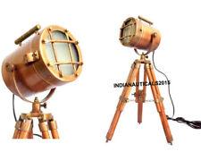 Copper Nautical Spot Light Table Lamp Brown Tripod Stand Home Decor.