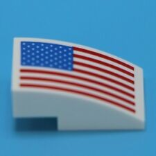 Lego Flag printed on white Space themed plate w bow 1x2x2/3