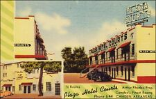 Roadside Hotel: Plaza Hotel Courts, Camden, AR. Linen. Cars, 2 Views.