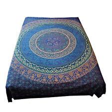 Tagesdecke Bettüberwurf Mandala Flowers Sofa Überwurf 100% Baumwolle Blau Grün