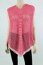 NWT $160 BCBG MAX AZRIA Knitted Crochet Poncho Hooded Cloak Sleeveless Pink M