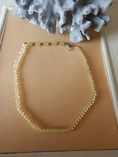 Vintage Necklace Glass Jonquil Yellow Faceted Disck Brass Choker