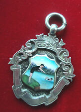 Attractive Sterling Argent & Émail Dames Natation Fob médaille/pendentif 1929 H/M