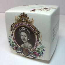 "Queen Elizabeth 1952-1977 Silver Jubilee Ceramic Bank 3"" x 3"" x 3"" EUC England"