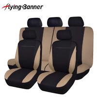 11PCS Universal Car Seat Covers Set Washable Beige Black Rear Bench Split 40/60