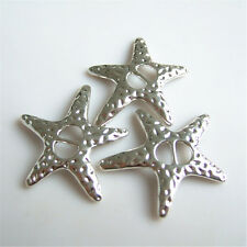 10x Antique Silver Starfish Double Hole Charms For DIY Slide Spacer Bead Jewelry
