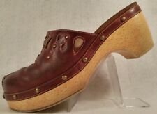 Indigo by Clarks Red Studded Leather Dress Fashion Comfort Mules Clogs Womens 7M