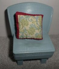 Fisher Price Loving Family Dollhouse Blue Chair With Decorative Pillow
