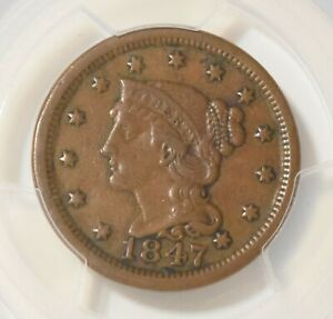1847 Braided Hair Large Cent PCGS XF40