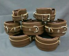 REAL PURE LEATHER 7 PCS ADULT CUFFS PADDED HEAVY DUTY BROWN BONDAGE SET