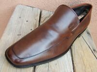 HUGO BOSS Mens Casual Dress Shoes Soft Brown Leather Slip On Loafers Size 9.5M