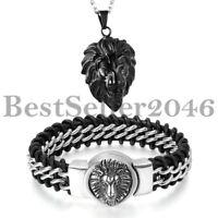 2PCS Männer Edelstahl Löwe Kopf Hängendes Halsketten Echtes Leder Armband