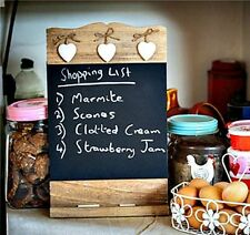 WOODEN KITCHEN CHALKBOARD MEMO BOARD CHIC SHABBY BLACKBOARD & SHELF  SHOPPING