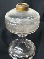 "Clear Decorative Glass Base Oil Kerosene Hurricane Lamp Floral Pressed  7.25"""