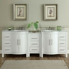 """89"""" Carrara White Marble Counter Top Bathroom Double Vanity Sink Cabinet 290W"""