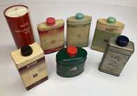 Lot of 7 Vintage Avon Talc Tin/Containers Daphne Candid Some Empty