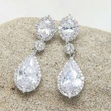 Luxurious Bridal Cubic Zirconia 18Ct White Gold Plated Drop Dangle Earrings UK