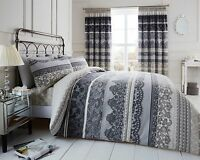 NEW Grey Decorative Printed Bedding Bed Duvet Quilt Pillowcases Set All Sizes