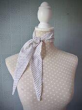 White and black polka dot scarf retro vintage 40's style hair scarf headband tie