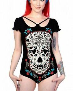 NWT~Banned Apparel~Black Sugar Skull Bodysuit Top~Jumpsuit~Gothic~Punk~Woman S