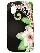 For T-Mobile LG Nexus 4 E960 HARD Protector Case Phone Cover Black Purple Flower