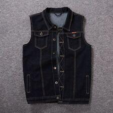 Herbst Herren Denim Weste Jeansweste Jeans Jeansjacke Jacke schwarz blau