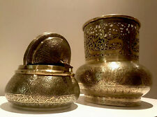 Antique Persian Islamic Middle Eastern Arabic  Brass Vase  And Lidded Bowl