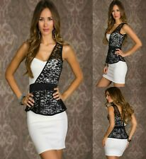 Sz 10 12 White Black Lace Peplum One Shoulder Dance Party Cocktail Slim FitDress