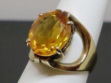 Vintage 8.7CT Orange Sapphire 10K Yellow Gold Cocktail Ring, 7.7g, size 6.5