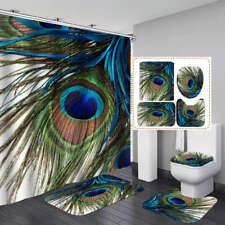 Colorful Peacock Feather Shower Curtain Bath Mat Toilet Cover Rug Bathroom Decor