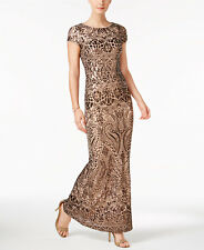 NEW BETSY & ADAM Sequin Dress Prom Formal Evening Gown Bronze size 2 $310