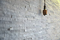 Split Face Natural Stone White Quartz Wall Cladding tiles, 3D Stacked - Sparkle