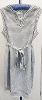 Hobbs White Grey Flax Linen Striped Loose Fit Tie Waist V Neck Summer Dress 16