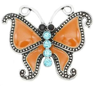 Silver Orange Blue Rhinestone Butterfly 20mm Snap Charm For Ginger Snaps Jewelry