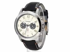 NEW FOSSIL GRANT SILVER TONE,BLACK LEATHER BAND,CHRONO ROMAN #'S WATCH FS4919
