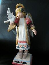 "Large Rare 14"" Tall House of Hatten Christmas Angel Tabletop Figurine Dove Bird"