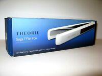 """Theorie Saga 1"""" White Flat Iron with Titanium Plates. TH-SFTWT."""
