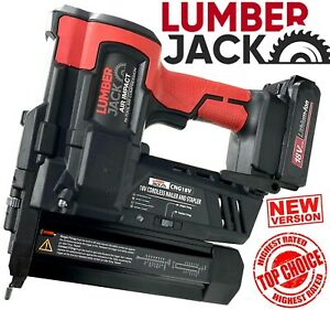 Lumberjack 18v Cordless Li-Ion Nail Gun & Stapler 2nd Fix Brad Nailer with Case