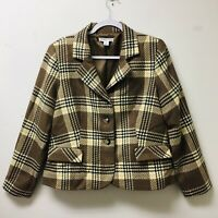 VINTAGE PENDLETON 100% Virgin Wool Plaid Blazer Jacket WOMEN'S 14 Brown/Cream 1